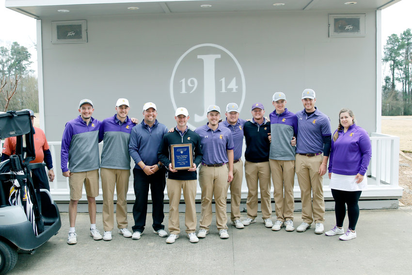 The Tennessee Tech men's golf team celebrates its win in the Grover Page Classic Tuesday in Jackson.
