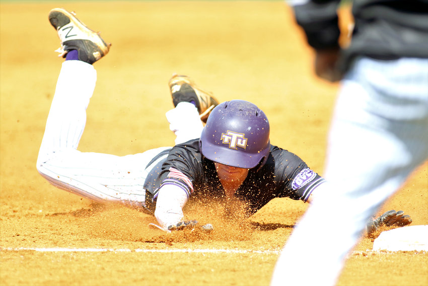 Tennessee Tech's Nathan McMeans slides into third base during the Golden Eagles' recent series with Southern Illinois University-Edwardsville. Tech came up just short on Wednesday in a loss to Lipscomb in Nashville.