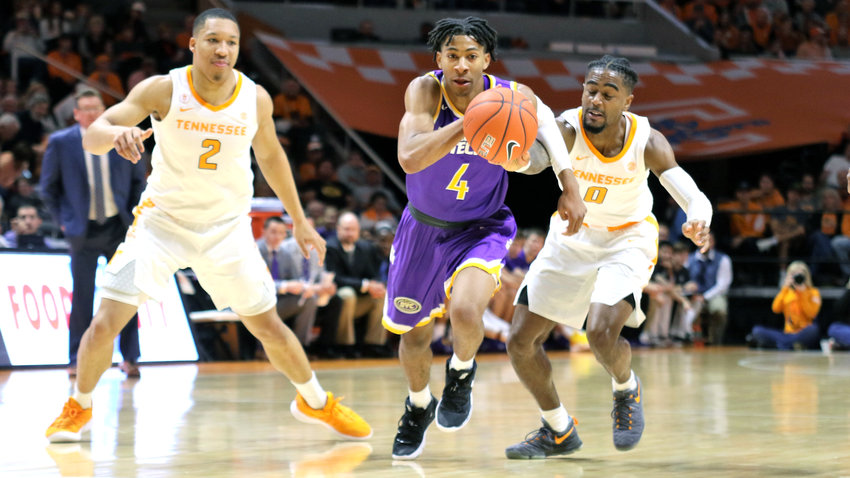 The Tennessee Volunteers, pictured above in their game with Tennessee Tech from earlier this season, will open play in the SEC tournament tonight.