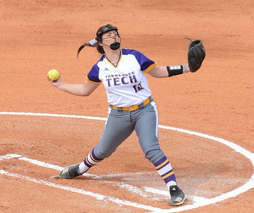 Tennessee Tech's Alyssa Arden delivers a strike during a recent game against Evansville at TTU.