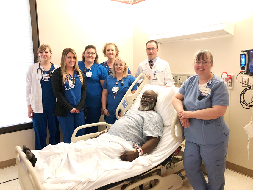 Patients like Tyree Daniel, 71, are recovering from a stroke with the help of the care team at CRMC including from left, Savannah Allen, RN, Mary Ragland, RN, Cassidy Gardner, RN, Kellie King, RN, Valerie Hamm, RN, Dr. Mark Tedford, and Jennifer Watkins, PCA.
