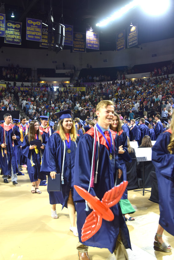 Cookeville High School graduates celebrate as they leave the Saturday morning ceremony at Tennessee Tech.