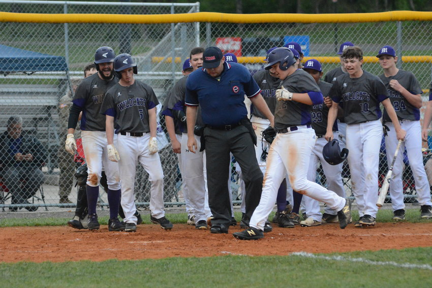 Parker Stout comes around to score after hitting a home run for Monterey in a game earlier this season.