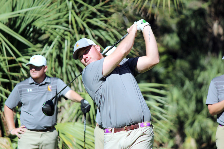Tennessee Tech's Will Brooks watches his drive during a tournament earlier this year.