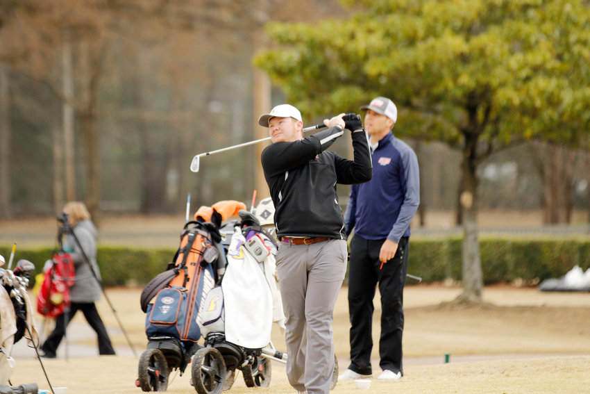 Tennessee Tech's Bracton Womack watches his drive during a tournament earlier this year.