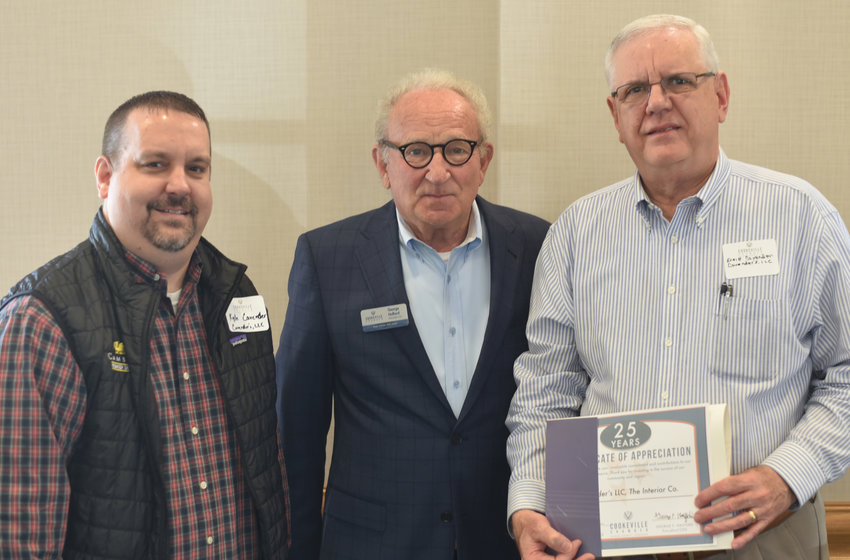 Kyle Cavender, left, and Ernie Cavender, right of Cavender LLC were honored for their anniversary of joining the Cookeville Chamber.