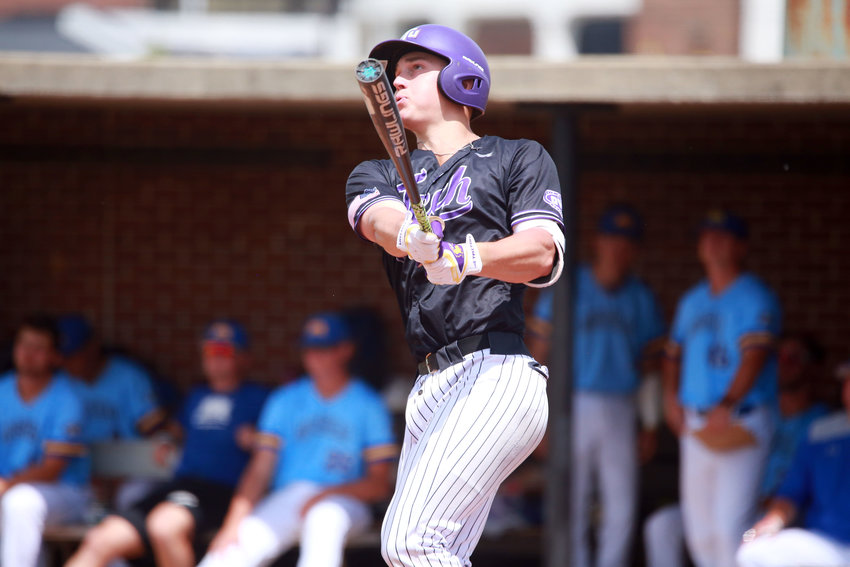 Tennessee Tech's Kevin Strohschein watches his hit during a game earlier in the season at TTU.