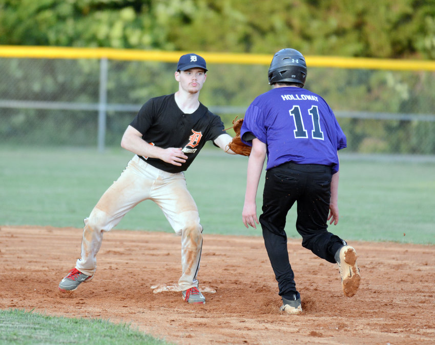 Dirt Daubers' Brett Turbeville, left, prepares to tag out Rockies' Hunter Holloway during the Rockies' 6-0 win in a PCYB Major League game Monday at Park View.