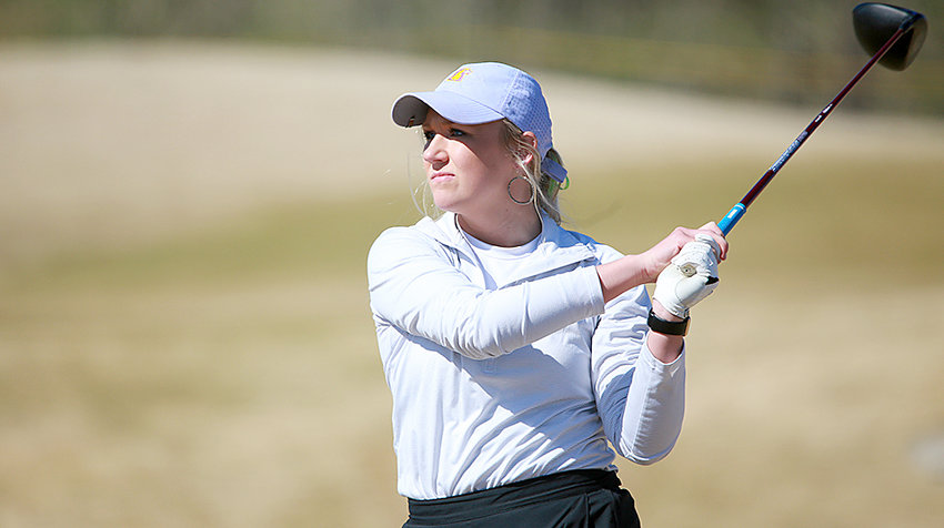 Tennessee Tech's Hannah Bratton watches her drive during a tournament earlier this year.