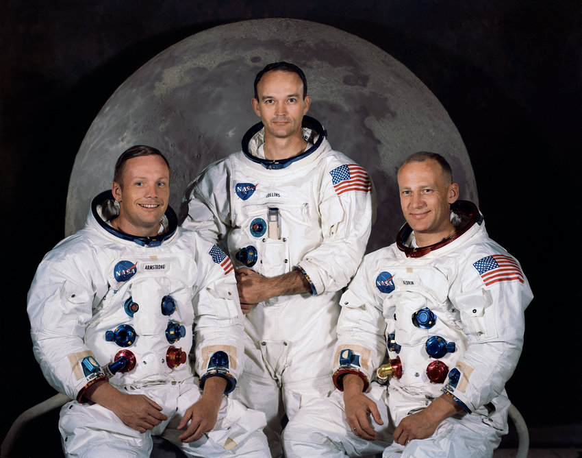 Crew members of Apollo 11, from left, Neil Armstrong, commander; Michael Collins, command module pilot; and Edwin E. Aldrin Jr., lunar module pilot. 