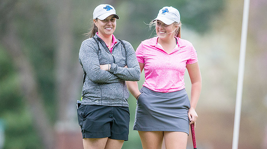 New TTU golf assistant coach Amanda Smith, left, talks with an Indiana State coach earlier in 2018.