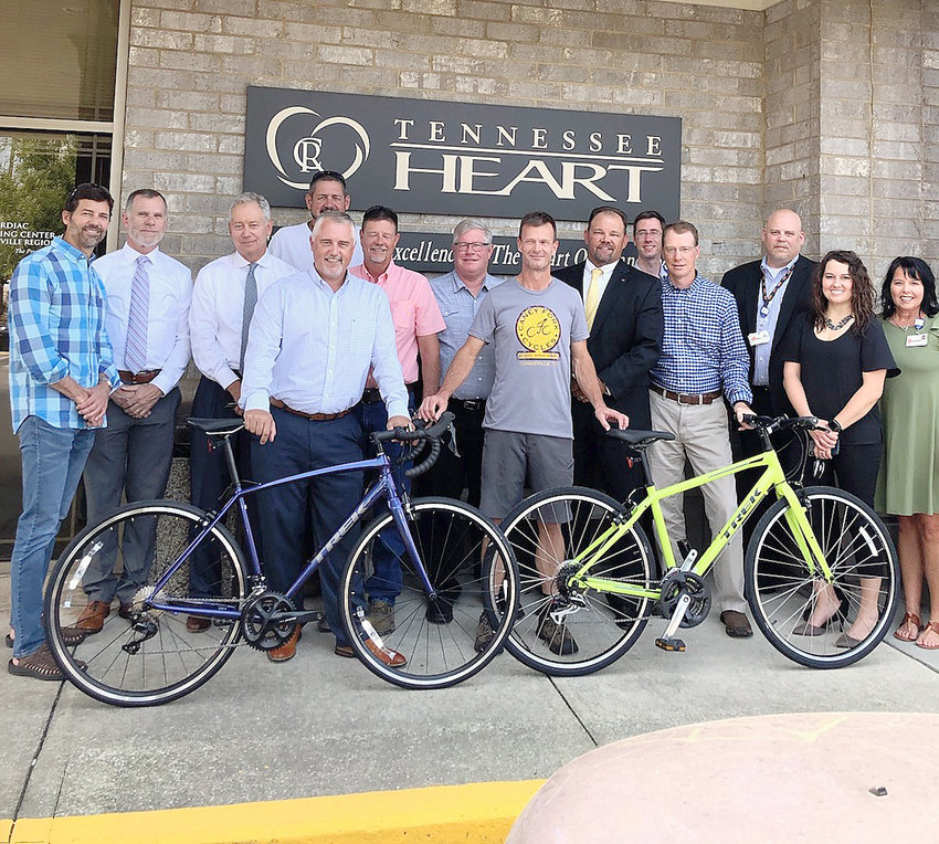 Members of the planning committee for the Ride to the Sky cycling event and sponsors include (from left) Tom Jones, Tod Williams, Dr. Michael Lenhart, Jim Helton, Chris Wakefield, Randy Keifer, Mark VanderBleek, Kirk Phifer, Pat Roper, John Bell, Dr. Brian Dockery, Mike Burnette, Dana Looper, and Amanda Scott.