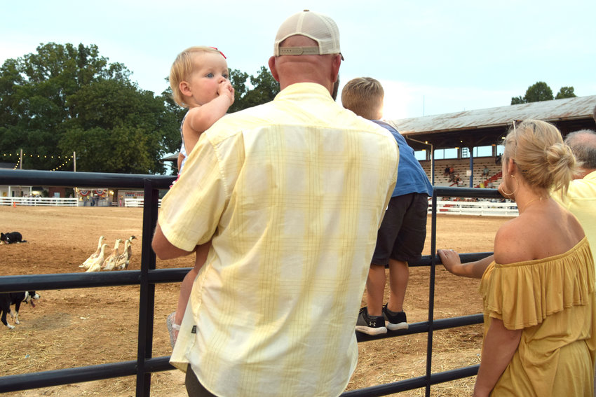 One-year-old Nayvie May Hawkins peeks over the shoulder of her dad, Daniel, as the Hawkins family watches the herding dogs demonstration at the Putnam County Fair Thursday night. At right are 4-year-old Hollace with mom, Erin. The Putnam County Fair wraps up the 10 days of events with the truck and tractor pull Friday and Saturday night at 7 p.m. in the main arena.
