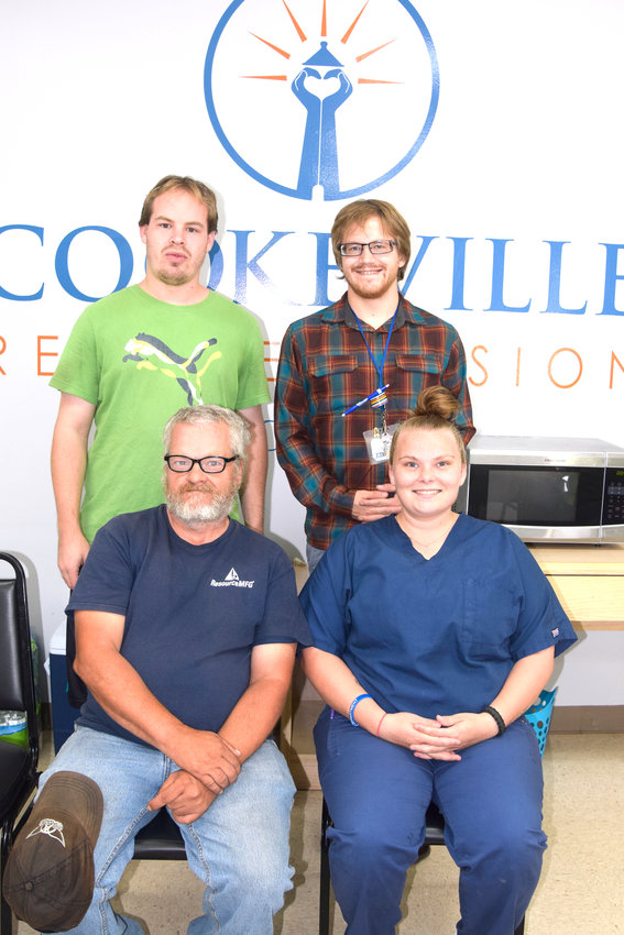 Douglas Cavins, Miranda Honeycutt, William Pickinpaugh and Brenden Finley are four of the first Cookeville Rescue Mission residents set to graduate from the mission's Life Transformation program. Glenn Honeycutt and Julie Wellman are also graduating from the program Friday.