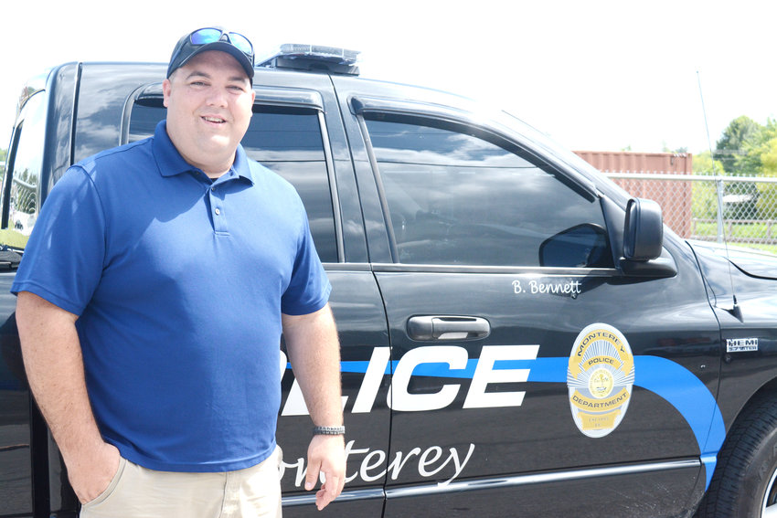 Monterey Police Officer Blake Bennett won $10,000 at the Bank of Putnam County drawing in Monterey last weekend.