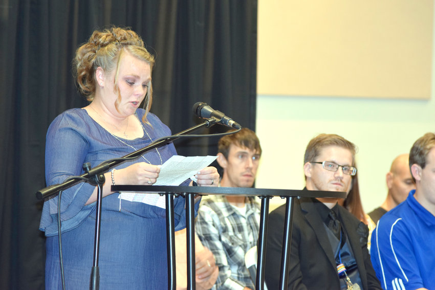 Cookeville Rescue Mission Life Transformation graduate Miranda Honeycutt speaks about the way her life has changed at the ceremony Friday night.