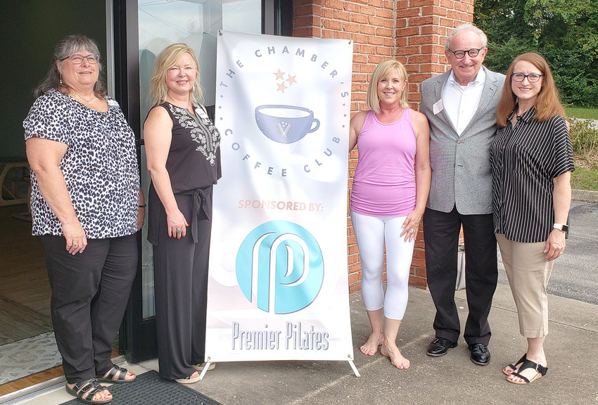 The Cookeville-Putnam County Chamber of Commerce hosted a coffee club meeting at Premier Plilates at 599 Vickers Place, Suite A. From left are Karen Langley, Axys Solutions/Chamber Board Member; Lisa Parker, First Realty; Jan Thorne, Premier Pilates Owner; George Halford, Chamber President/CEO; Gina Padgett, TTU Marketing Coordinator.