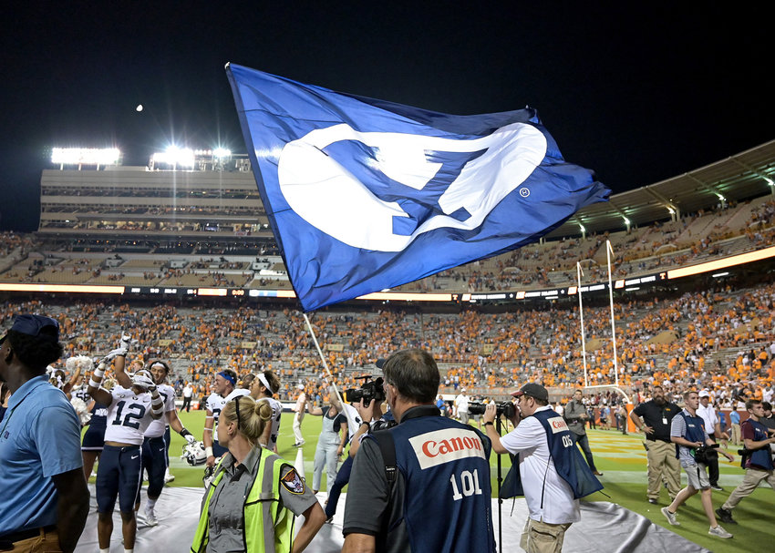 Brigham Young Cougars celebrate their win over the Tennessee Volunteers, 29-26 in double-overtime, Saturday, Sept. 7, 2019, at Neyland Stadium in Knoxville, Tenn.