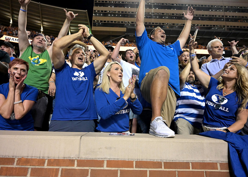 Brigham Young Cougars fans celebrate their win over the Tennessee Volunteers, 29-26 in double-overtime, Saturday, Sept. 7, 2019, at Neyland Stadium in Knoxville, Tenn.