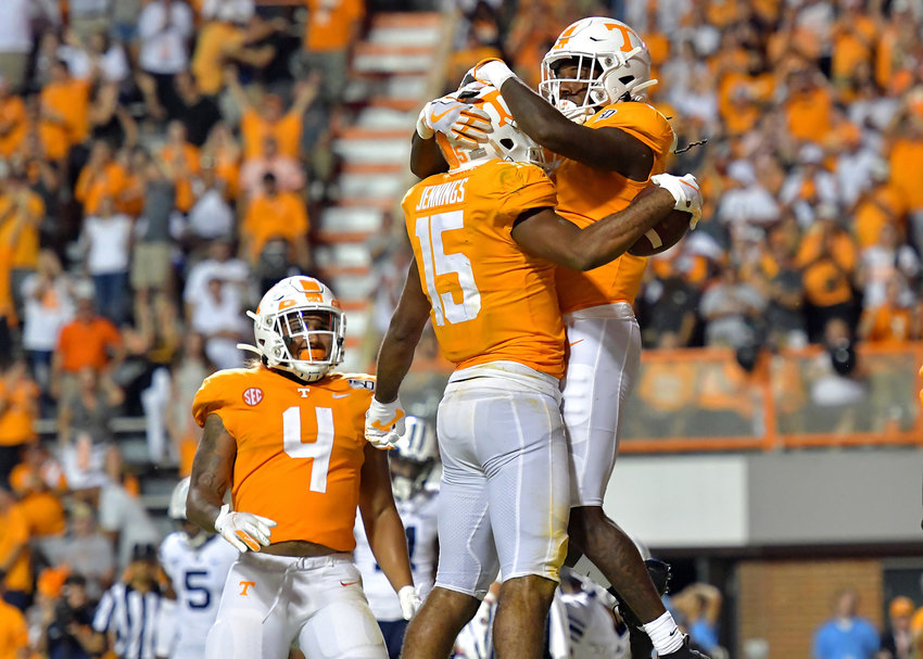 Tennessee Volunteers wide receiver Jauan Jennings (15) celebrates his touchdown during the first overtime of an NCAA football game against the Brigham Young Cougars Saturday, Sept. 7, 2019, at Neyland Stadium in Knoxville, Tenn. BYU defeats UT 29-26 in double overtime.