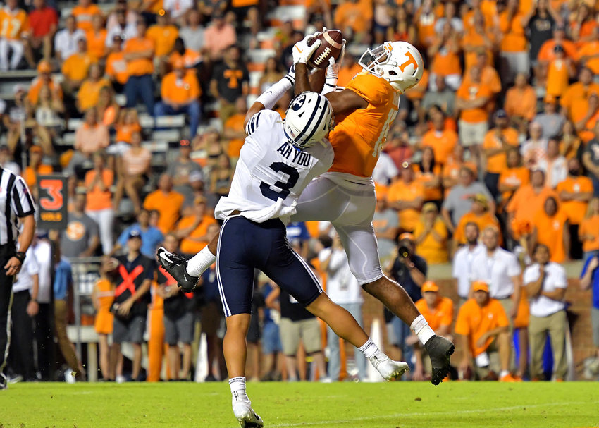 Tennessee Volunteers wide receiver Jauan Jennings (15) with a catch for a touchdown in the first overtime of the NCAA football game against the Brigham Young Cougars Saturday, Sept. 7, 2019, at Neyland Stadium in Knoxville, Tenn. BYU defeats UT 29-26 in double overtime.