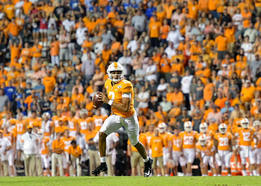 Tennessee Volunteers quarterback Jarrett Guarantano (2) looks for a receiver in the first overtime of the NCAA football game against the Brigham Young Cougars Saturday, Sept. 7, 2019, at Neyland Stadium in Knoxville, Tenn. BYU defeats UT 29-26 in double overtime.
