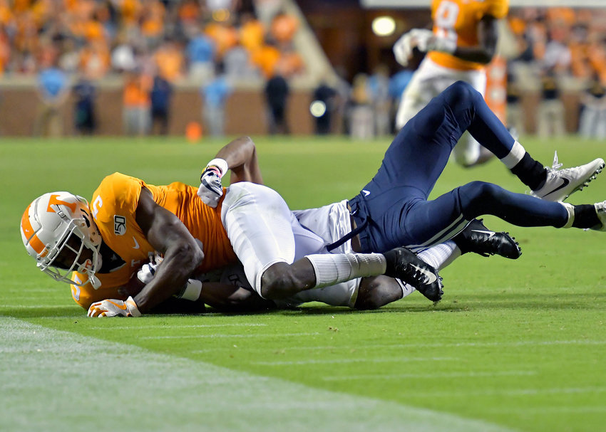 Tennessee Volunteers wide receiver Josh Palmer (5) with a catch in overtime of an NCAA football game against the Brigham Young Cougars Saturday, Sept. 7, 2019, at Neyland Stadium in Knoxville, Tenn. BYU defeats UT 29-26 in double overtime.