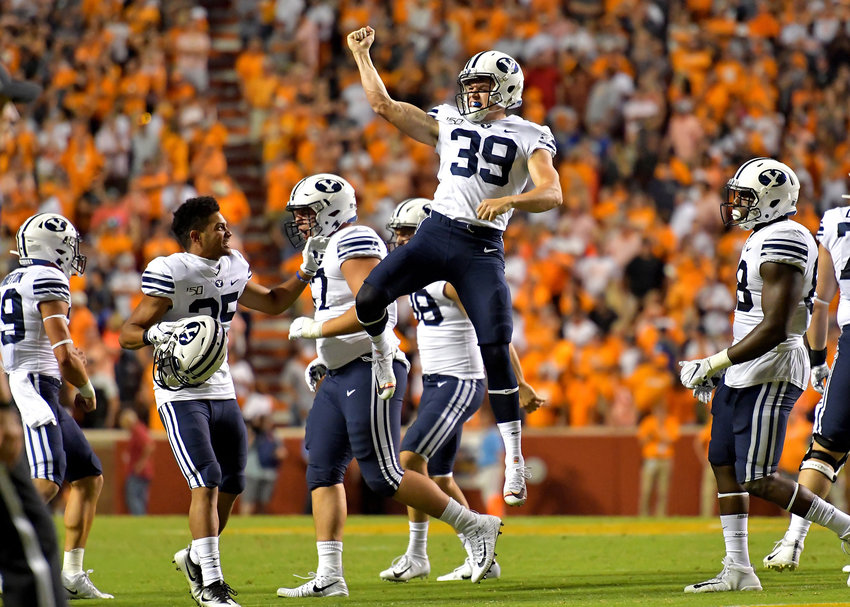 Brigham Young Cougars linebacker Alex Miskela (39) celebrates a successful field goal that sends the game into overtime against the Tennessee Volunteers Saturday, Sept. 7, 2019, at Neyland Stadium in Knoxville, Tenn. BYU defeats UT 29-26 in double overtime.
