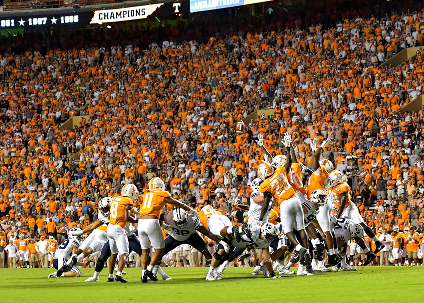Tennessee Volunteers attempts to block a field goal late in the fourth quarter of an NCAA football game against the Brigham Young Cougars Saturday, Sept. 7, 2019, at Neyland Stadium in Knoxville, Tenn. BYU defeats UT 29-26 in double overtime.