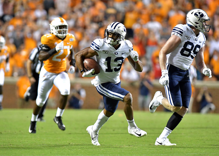 Brigham Young Cougars wide receiver Micah Simon (13) with a 67-yard reception late in the fourth quarter that would set up a field goal and send the game into overtime against the Tennessee Volunteers Saturday, Sept. 7, 2019, at Neyland Stadium in Knoxville, Tenn. BYU defeats UT 29-26 in double overtime.