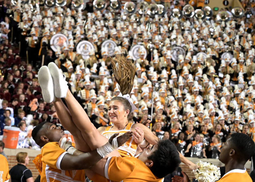 Tennessee Volunteers cheerleaders perform during the second half of an NCAA football game against the Brigham Young Cougars Saturday, Sept. 7, 2019, at Neyland Stadium in Knoxville, Tenn. BYU defeats UT 29-26 in double overtime.