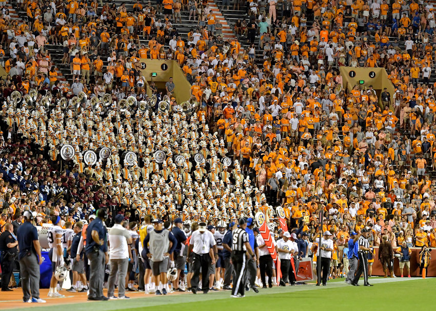 The Pride of the Southland Band is pictured in the stands during the second half of an NCAA football game between the Brigham Young Cougars and the Tennessee Volunteers Saturday, Sept. 7, 2019, at Neyland Stadium in Knoxville, Tenn. BYU defeats UT 29-26 in double overtime.