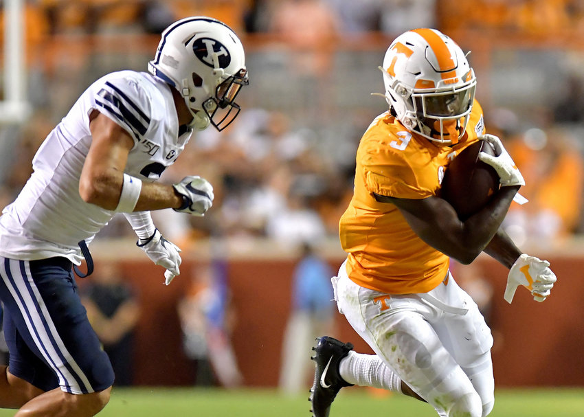 Tennessee Volunteers running back Eric Gray (3) on a run in the first half of an NCAA football game against the Brigham Young Cougars Saturday, Sept. 7, 2019, at Neyland Stadium in Knoxville, Tenn. BYU defeats UT 29-26 in double overtime.