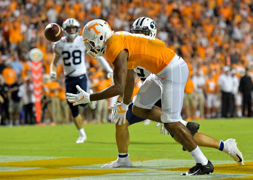 Tennessee Volunteers wide receiver Jauan Jennings (15) cannot hold onto a pass that was delivered right into his hands in the first half of an NCAA football game against the Brigham Young Cougars Saturday, Sept. 7, 2019, at Neyland Stadium in Knoxville, Tenn. BYU defeats UT 29-26 in double overtime.