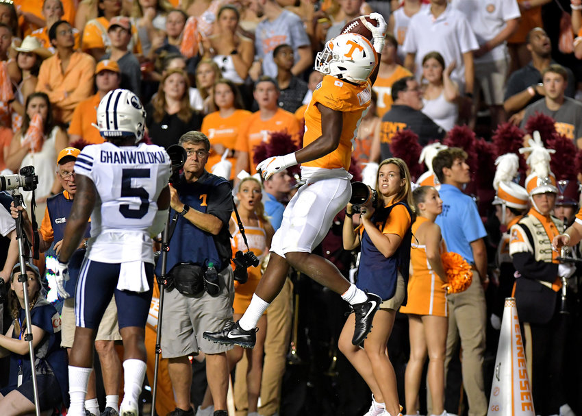 Tennessee Volunteers running back Ty Chandler (8) makes a one-handed catch but it was out of bounds late in the first half of an NCAA football game against the Brigham Young Cougars Saturday, Sept. 7, 2019, at Neyland Stadium in Knoxville, Tenn. BYU defeats UT 29-26 in double overtime.