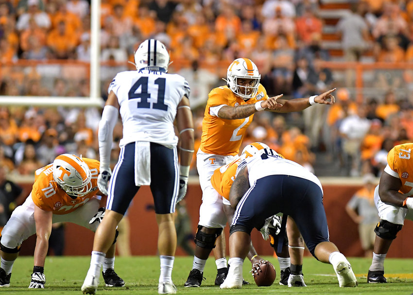Tennessee Volunteers quarterback Jarrett Guarantano (2) makes a change at the line of scrimmage during the first half of an NCAA football game against the Brigham Young Cougars Saturday, Sept. 7, 2019, at Neyland Stadium in Knoxville, Tenn. BYU defeats UT 29-26 in double overtime.
