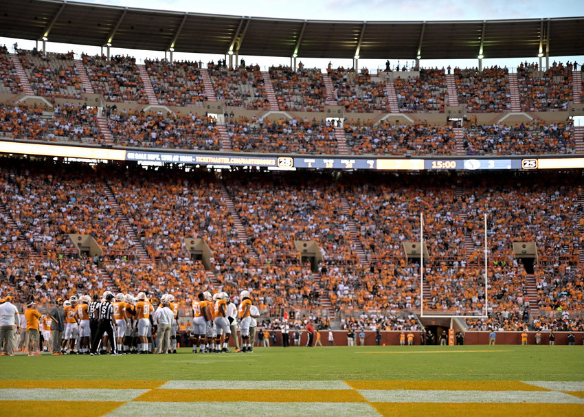 From the first half of an NCAA football game between the Brigham Young Cougars and the Tennessee Volunteers Saturday, Sept. 7, 2019, at Neyland Stadium in Knoxville, Tenn. BYU defeats UT 29-26 in double overtime.