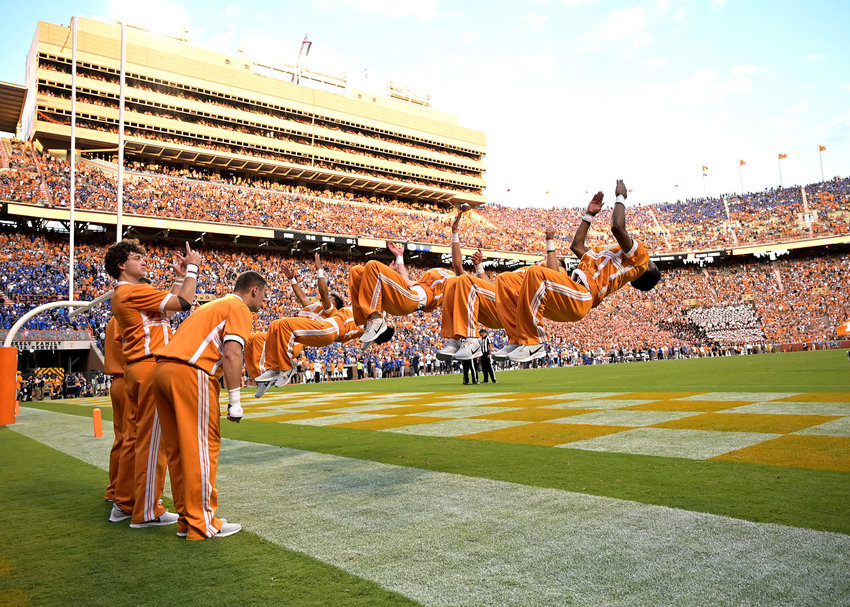 Tennessee Volunteers cheerleaders perform a backflip following a touchdown in the first half of an NCAA football game against the Brigham Young Cougars Saturday, Sept. 7, 2019, at Neyland Stadium in Knoxville, Tenn. BYU defeats UT 29-26 in double overtime.