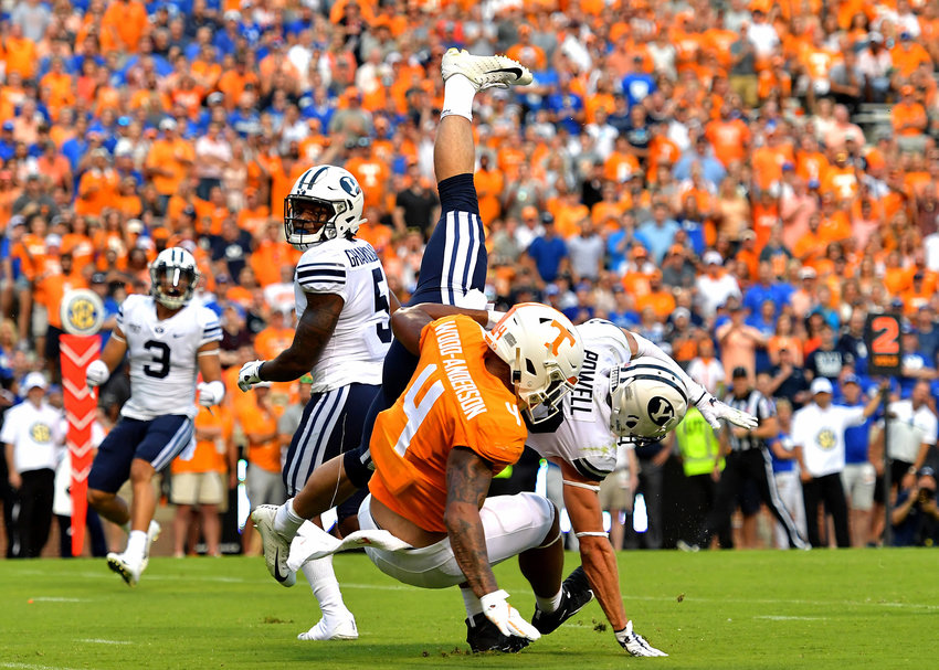 Brigham Young Cougars defensive back Sawyer Powell (28) breaks up a pass intended for Tennessee Volunteers tight end Dominick Wood-Anderson (4) in the first half of an NCAA football game Saturday, Sept. 7, 2019, at Neyland Stadium in Knoxville, Tenn. BYU defeats UT 29-26 in double overtime.