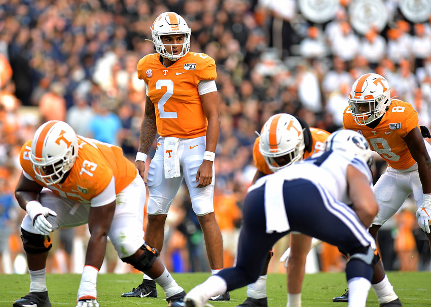 Tennessee Volunteers quarterback Jarrett Guarantano (2) looks over the defense prior to the snap in the first half of an NCAA football game against the Brigham Young Cougars Saturday, Sept. 7, 2019, at Neyland Stadium in Knoxville, Tenn. BYU defeats UT 29-26 in double overtime.