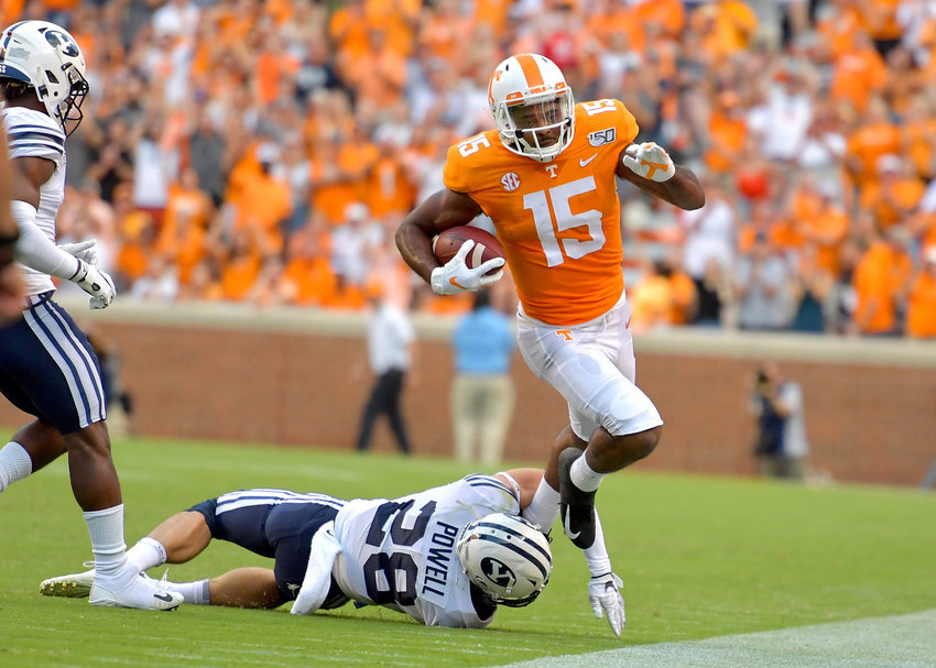 Brigham Young Cougars defensive back Sawyer Powell (28) forces Tennessee Volunteers wide receiver Jauan Jennings (15) out of bounds in the first half of an NCAA football game Saturday, Sept. 7, 2019, at Neyland Stadium in Knoxville, Tenn. BYU defeats UT 29-26 in double overtime.
