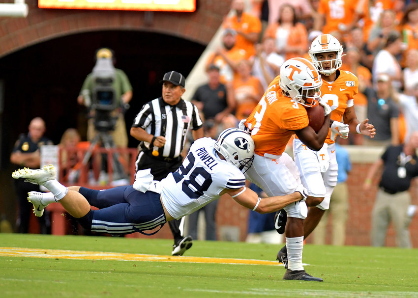 Tennessee Volunteers running back Eric Gray (3) with a carry for a first down in the first half of an NCAA football game between the Brigham Young Cougars and the Volunteers Saturday, Sept. 7, 2019, at Neyland Stadium in Knoxville, Tenn. BYU defeats UT 29-26 in double overtime.