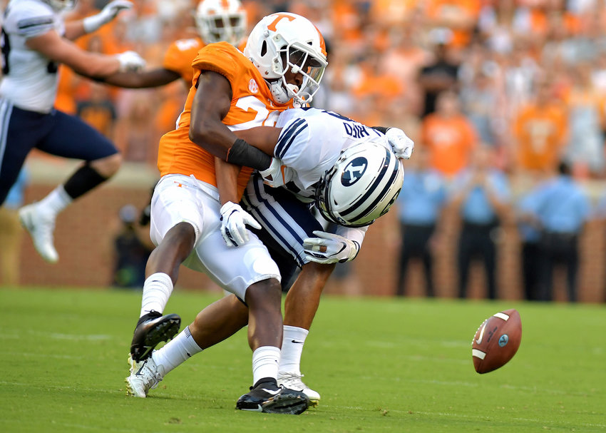 Tennessee Volunteers defensive back Theo Jackson (26) breaks up a pass intended for Brigham Young Cougars wide receiver Aleva Hifo (15) in the first half of an NCAA football game Saturday, Sept. 7, 2019, at Neyland Stadium in Knoxville, Tenn. BYU defeats UT 29-26 in double overtime.