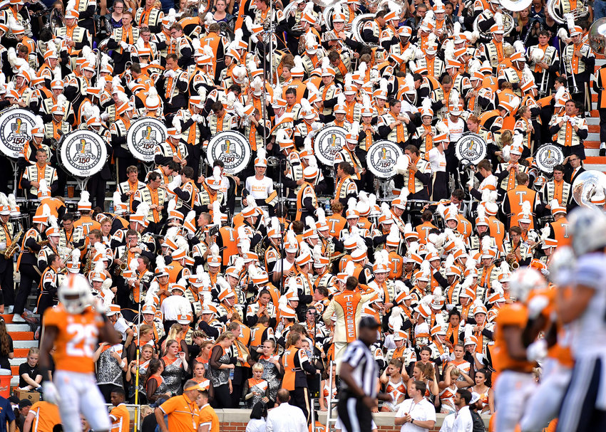 The Pride of the Southland Band performs in the stands during the NCAA football game between the Brigham Young Cougars and the Tennessee Volunteers Saturday, Sept. 7, 2019, at Neyland Stadium in Knoxville, Tenn. BYU defeats UT 29-26 in double overtime.
