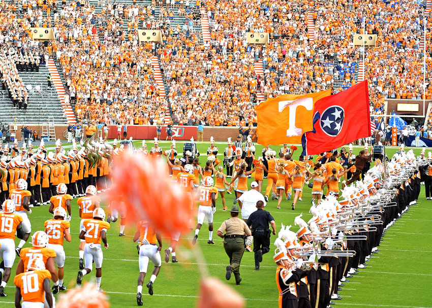 The Tennessee Volunteers take the field prior to the kickoff of the NCAA football game against the Brigham Young Cougars Saturday, Sept. 7, 2019, at Neyland Stadium in Knoxville, Tenn. BYU defeats UT 29-26 in double overtime.