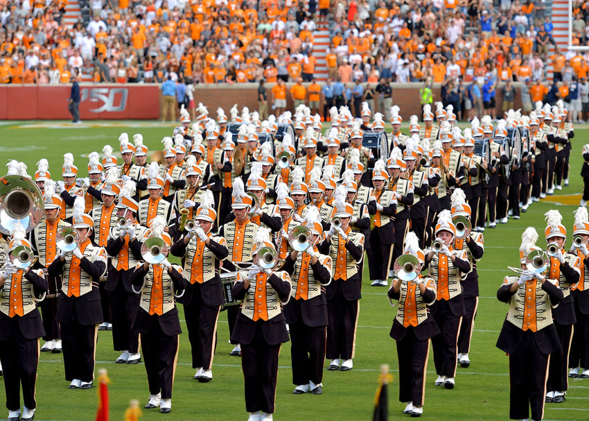 The Pride of the Southland Band performs prior to the NCAA football game between the Brigham Young Cougars and the Tennessee Volunteers Saturday, Sept. 7, 2019, at Neyland Stadium in Knoxville, Tenn. BYU defeats UT 29-26 in double overtime.