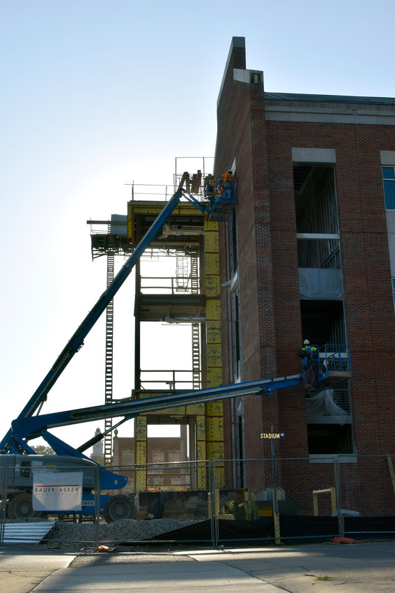 Construction crews continue work on the 165,000-square-foot laboratory sciences building at Tennessee Tech Tuesday morning. The lecture hall of the $90 million project is scheduled to open in May 2020. The main structure, which will be the largest building on campus, is expected to be complete in October 2020.