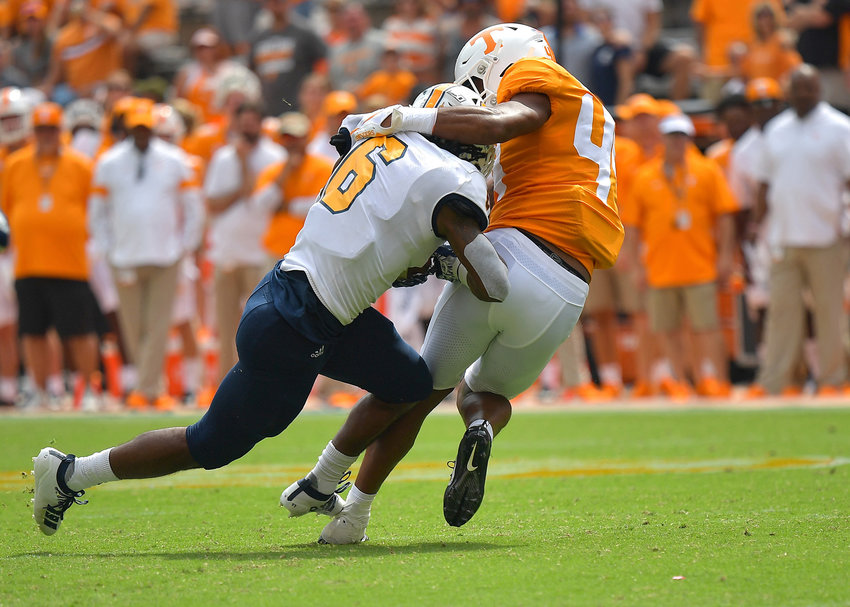 From the second half of an NCAA football game between the Chattanooga Mocs and the Tennessee Volunteers Saturday, Sept. 14, 2019, at Neyland Stadium in Knoxville Tenn. Tennessee defeats Chattanooga 45-0.