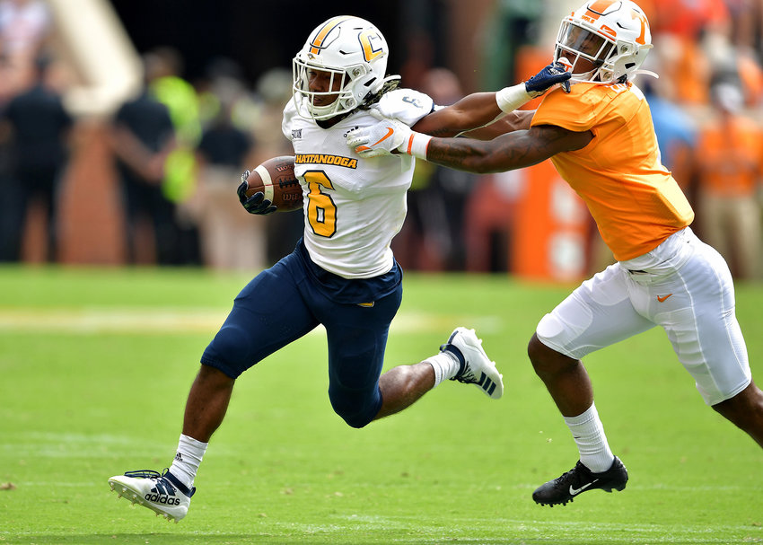 Chattanooga Mocs running back Jeffrey Wood II (6 ) in action during the fourth quarter of the NCAA football game agains the Tennessee Volunteers Saturday, Sept. 14, 2019, at Neyland Stadium in Knoxville Tenn. Tennessee defeats Chattanooga 45-0.