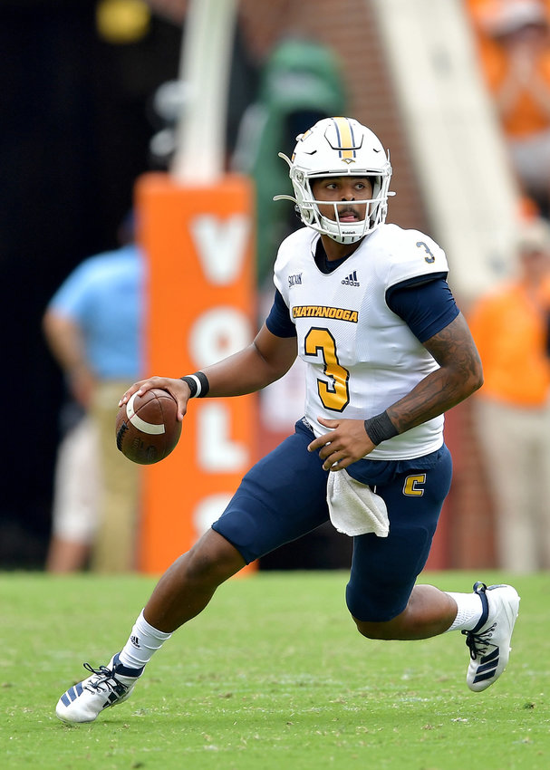 Chattanooga Mocs quarterback Drayton Arnold against the Tennessee Volunteers Saturday, Sept. 14, 2019, at Neyland Stadium in Knoxville Tenn. Tennessee defeats Chattanooga 45-0.